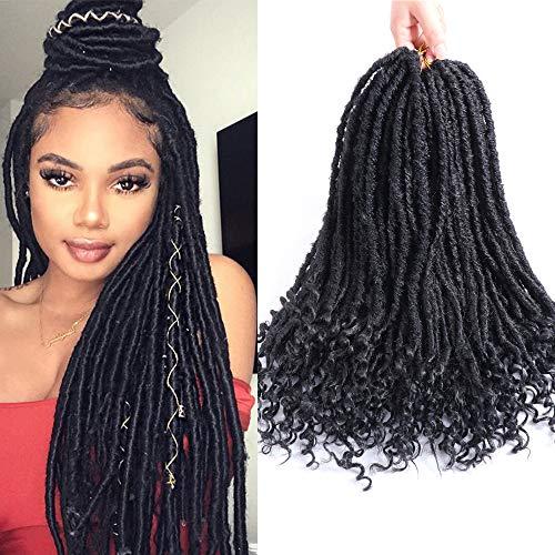 Dea Faux Locs crochet Braiding Hair, 6 pezzi/lotto Twist sintetico extension per capelli ricci con estremità (20 pollici, nero)