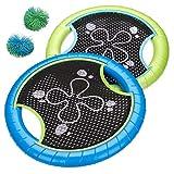 Nexos Beachball Wurfspiel für Kinder 2 Frisbees mit 2 Wuschelbällen Gartenspiel Outdoor Klettball Catchball Strandspielzeug 4 teilig