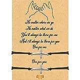 2 Piezas Pulseras de Promesa de Meñique Pulsera de Graduación a Juego a Distancia de Pareja Amistad Bohemia (Cruz)