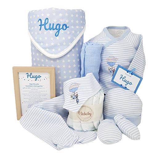 Mi Cielo de Mababy - Cesta Bebé con Arrullo de Recién Nacido Personalizado - Canastilla de regalos para Bebés (Azul Talla 0)