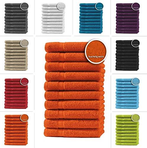 one-home 10er Set Gästetücher Handtücher Duschtücher Badetücher Frottee 100% Baumwolle, Produktart:Gästetücher 30x50 cm, Präzise Farbe:Terracotta/Orange