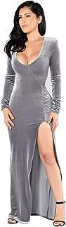 NOVMAY Women's Velvet Long Bodycon Side Slit Formal Evening Gown V Neck Maxi Dresses