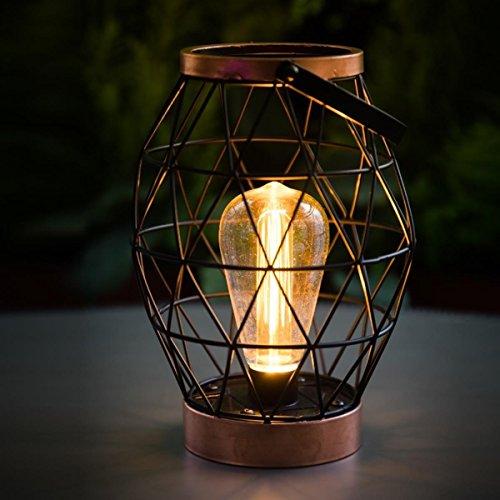 Direct Global Trading Noma Lanterne avec Ampoule LED à Filament à Piles, 25 cm Geo Table Taille Unique Blanc