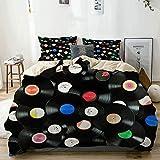 Funda nórdica, Juego de Funda nórdica con Discos de Vinilo Vintage Coloridos de música Abstracta, con 2 Fundas de Almohada, Funda nórdica de Gran Tama?o