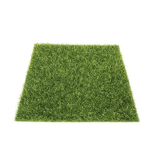 PPX Life-Like Fairy Artificiale Erba Stuoia Erba Prato in Miniatura Ornamento Giardino Casa delle Bambole Vaso 15 x 15 CM (Green Carpet)