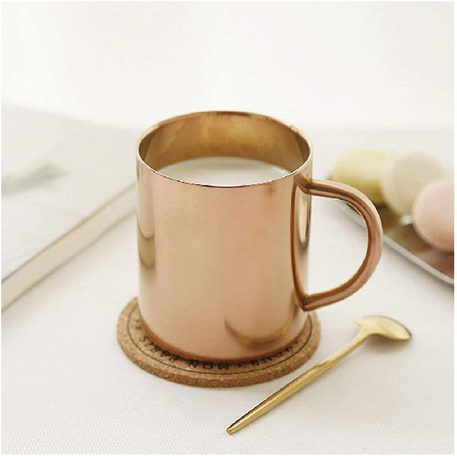 Nordic Design 304 Stainless Steel Mug gold Copper Plated Coffee Mug Milk Cup Antiscalding Cup