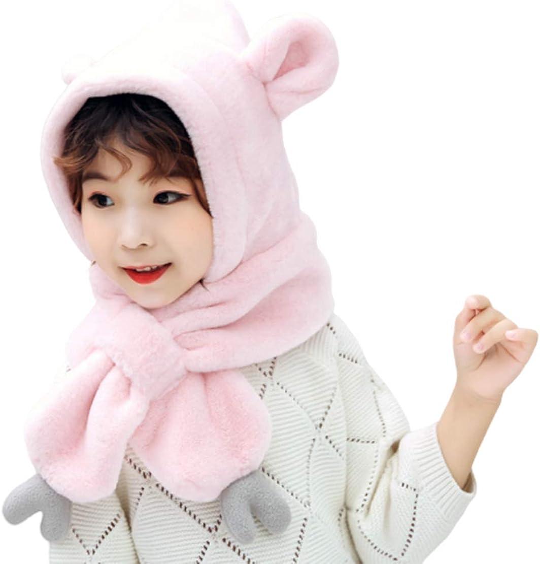 Girls Children Kids Winter Warm Hat - Hat Scarf 2 in 1, Super Soft Comfortable for 3-10 Years Old Child