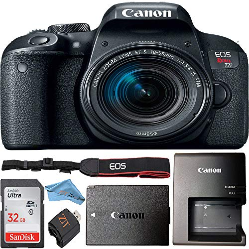 Canon EOS Rebel T7i 24.2 MP Digital SLR Camera w/Canon 18-55mm is STM Lens + 32GB SanDisk Memory Card + Memory Card Reader + Microfiber Cloth Bundle (Canon 18-55mm is STM Lens)