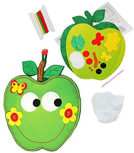 alles-meine.de GmbH Bastelset - Filz - als Topflappen / Untersetzer / Wanddeko / Plüschfigur -  grüner Apfel mit Gesicht  - zum Sticken, einfaches Nähen per Hand - Komplettset ..