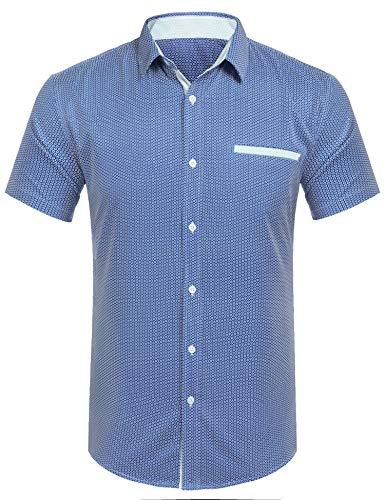COOFANDY Herren Hemd Kurzarm Freizeithemden Kentkragen Regular Fit Sommer Shirt für Männer-Marine Blau-XL