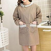 CAPOOK 綿のコットンエプロン2PCS / LOTキッチン作業大人のガウン狡猾な抗ドレス袖ガウンと エプロン 女性のエプロン キッチンエプロン (Color : Brown, UnitCount : 2PCS)