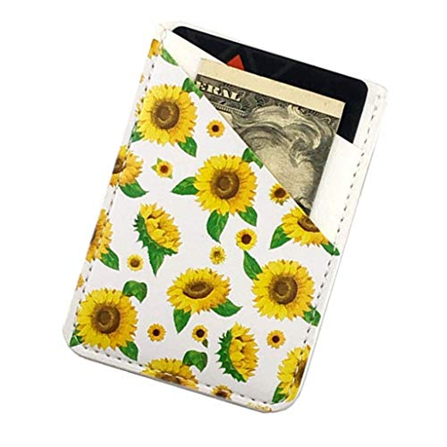 Ac.y.c Phone Card Holder, Ultra Thin PU Leather 3M Adhesive Stick-on ID Credit Card Wallet Sticker Case Pouch Pocket for Back of iPhone,Android and Smartphones (Sunflowers)