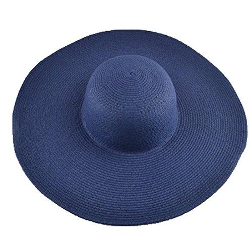 AngelCity Brides Womens Beach Hat Striped Straw Sun Hat Floppy Big Brim Hat Navy