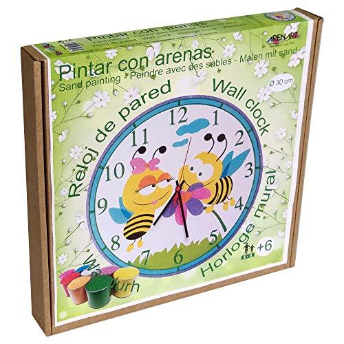 Arenart   Lámina Reloj Abejitas Ø30 cm   para Pintar con Arenas de Colores   Manualidades para Niños   Dibujo Infantil   Pintar por números   +6 años