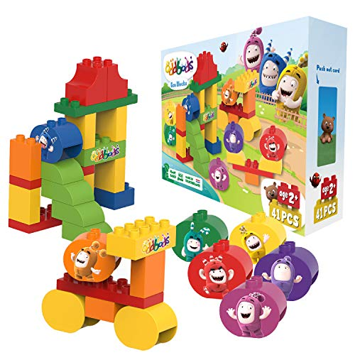 Oddbods Eco Blocks, Plastic Free Building Block Toys for Toddlers and Preschool Kids, Compatible with Other Building Block Toys, Plant-Based, 41 Piece Set