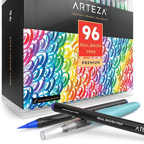Arteza Real Brush Pens, 96 Paint Markers with Flexible Brush Tips, Professional Watercolor Pens for Painting, Drawing, Coloring with Water Brush, 100% Nontoxic