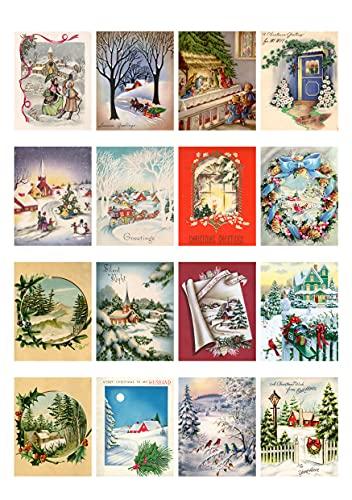 Decoupage-Papier-Set (21 Blatt 15,2 x 20,3 cm) Weihnachtsszenerie FLONZ Vintage Stil Weihnachtsbilder Karten für Decoupage, Basteln & Scrapbooking