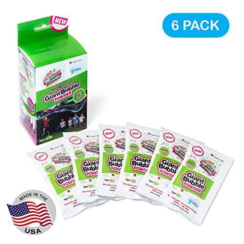 WOWMAZING Big Bubble Refill Powder Mix (6 Packets) - Turns Dish Detergent into Giant Bubbles. Makes 6 GALLONS! - Made in USA
