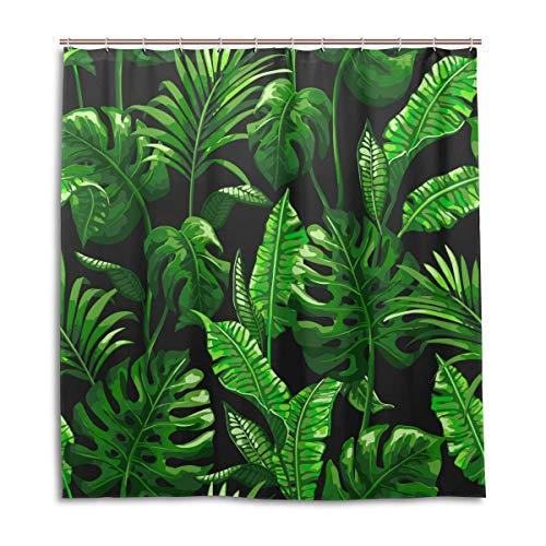 CPYang Duschvorhang Dschungel Plam Blätter Muster Wasserdicht Schimmelresistent Badevorhang Badezimmer Home Decor 168 x 182 cm mit 12 Haken
