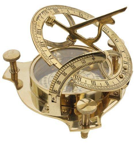 WYJW - Brújula de latón con 3 relojes solares