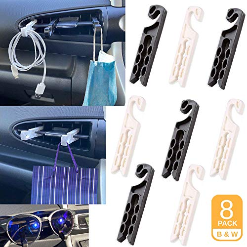 Randoncept - Air Vent Sunglass and Eyeglass Holder Hanger for Car and Truck | Earphone Cable Winder Glasses Organizer Hanger Storage Hook (8 Pack)