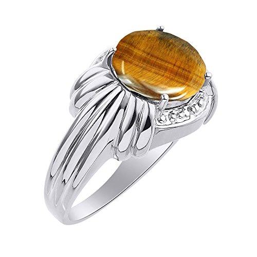 Juego de anillos de ojo de tigre de diamante y oro blanco de 14 quilates – 12 x 10 mm piedra de color Anillo de nacimiento