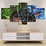 WARMBERL Lienzo de 5 piezas de Genji y Hanzo, pintura abstracta en lienzo para sala de estar,...