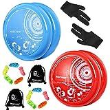 MAGICYOYO D3 DAWN Yoyos receptivos para niños, Yoyos de bucle para principiantes, Fácil de jugar y practicar trucos básicos de bucle, con 10 cuerdas de yo-yo, 2 guantes, 2 bolsas de yo-yo(azul + rojo)