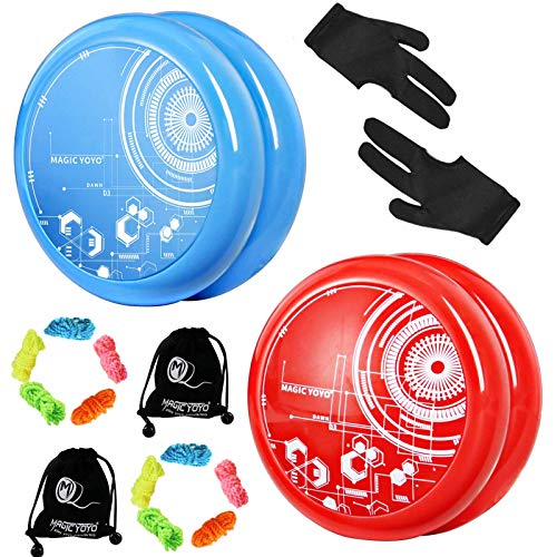 MAGICYOYO D3 DAWN Response Jojos für Kinder, Looping Yoyos für Anfänger, Einfach zu spielen und grundlegende Looping-Tricks zu üben, mit 10 Jojo Saiten, 2 Handschuhen, 2 Jo-jo Taschen (Blau + Rot)