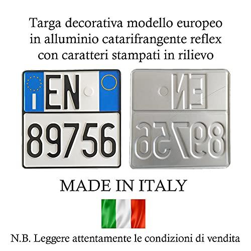 Replica Targa Moto Modello Europeo in Alluminio Catarifrangente ed in Rilievo