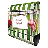 banjado® Design Briefkasten personalisiert mit Motiv WT Gartenzaun 39x47x14cm & 2 Schlüssel - Briefkasten Stahl schwarz mit Zeitungsfach pulverbeschichtet - Postkasten A4 Einwurf inkl. Montagematerial