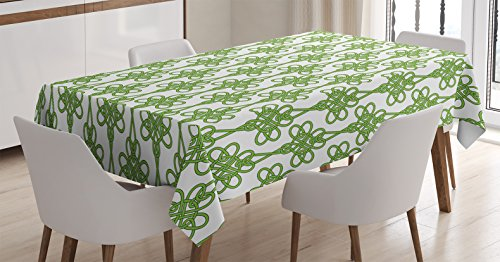 Ambesonne Celtic Tablecloth, St. Patrick's Day Theme Celtic Knots Lucky Clover Design Pattern Irish Theme Print, Dining Room Kitchen Rectangular Table Cover, 60' X 84', White Green