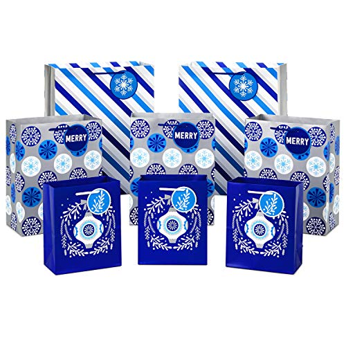 Hallmark Holiday Gift Bag Assortment, Blue and Silver (Pack of 8 Gift Bags; 3 Small 6', 3 Medium 9', 2 Large 13') Ornaments, Snowflakes, Stripes