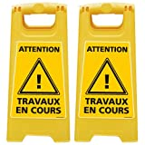Lot de 2 Chevalet de signalisation - Attention Travaux en Cours - Dimensions 600x300mm