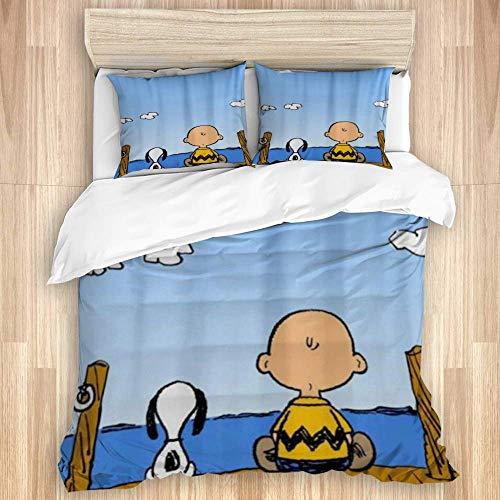 446 HBGDFNBV Bedding - Set copripiumino Anime Snoopy, in microfibra, 230 x 220 cm, con 2 federe da 50 x 80 cm