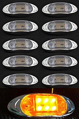 10 x Orange Ambre LED 24 V côté Contour Chrome Bezel Feux de gabarit clair objectif Camion Remorque Chassis caravane