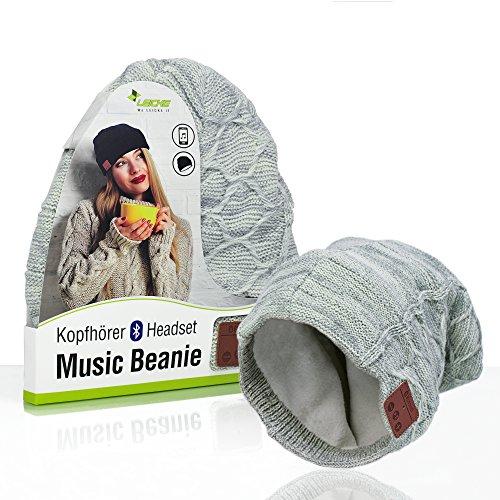 Sharon LEICKE Music Headset Bluetooth Beanie   TÜV Schadstoffgeprüft   Mütze Funkkopfhörer Stereo-Lautsprecher-Mikrofon Wireless Cap   Smartphone kompatibel   Grau Strickmütze
