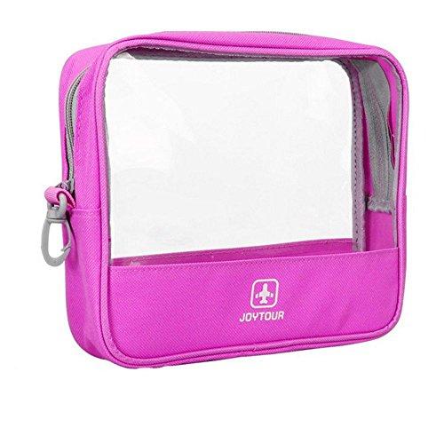 DAYAN PVC imperméable Hommes Trousse de Toilette Maquillage de Lavage numérique Poche Organisateur Femmes Transparentes Sacs cosmétiques Couleur Rose Rouge