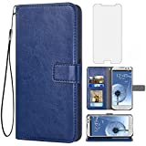 Asuwish Compatible with Samsung Galaxy S3 Wallet Case Tempered Glass Screen Protector and Leather Flip Cover Card Holder Stand Cell Accessories Phone Cases for galaxy3 S III I9300 GS3 Women Men Blue