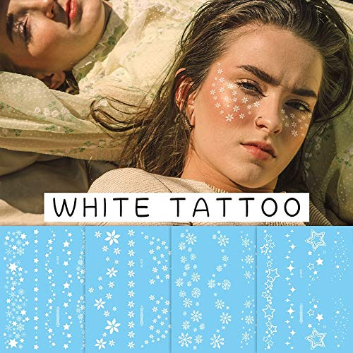 waterproof temporary tattoos face neck water transfer white henna tattoo fake moon star lace tattoo designs stickers decal