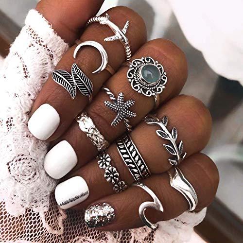 Ushiny Juego de anillos para nudillos con diseño de estrella de mar bohemio, color plateado, vintage, para mujeres y niñas (11 piezas)