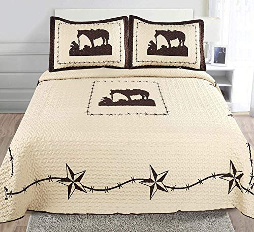 Sapphire Home 3 Piece Queen Size Quilt Bedspread Set with 2 Shams, Wild Horse Country/Horseshoe/Barbwire/Star/Cowboy Design, Beige Coffee, Queen Prayer Horse Beige