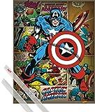 1art1 Capitán América Póster Mini (50x40 cm) El Primer Vengador, Marvel Comics Y 1 Lote De 2 Varillas Transparentes