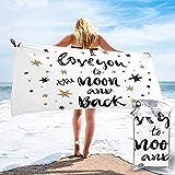Toalla de Camping de Secado rápido para Viajes a la Playa, Dibujada a Mano Te Amo hasta la Luna y la Espalda Cotización Toalla de baño de celebración de San Valentín 160X80 cm