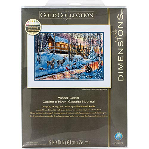 Dimensions Gold Collection Winter Cabin Christmas Cross Stitch Kit Grey 16 Count Aida, 15' x 10'