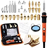 Preciva 45 in 1 Wood Burning Pyrography Pen and Soldering Iron Kit, Wood Engraving Craft Kit with Pyrography Basics and 60W Adjustable Temperature Wood Burner Pen Tool for Carving with 31 Tips,Orange