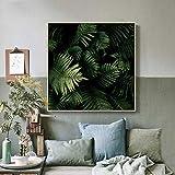 wZUN Peinture sur Toile Paysage Naturel Affiches et Impressions Fleurs Arbres Verts Art Salon Peinture Murale décoration de la Maison 60x60 sans Cadre