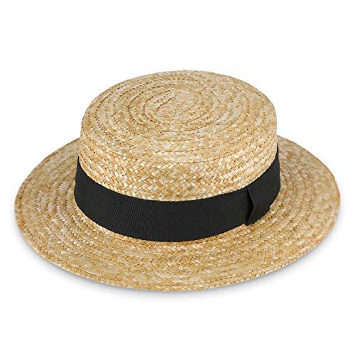 fiebig Sierra Circular Sombrero de Paja Natural | Damas y Caballeros | Sombrero para el Sol Hecho 100% de Paja Sombrero de gondolero para la Primavera y el Verano