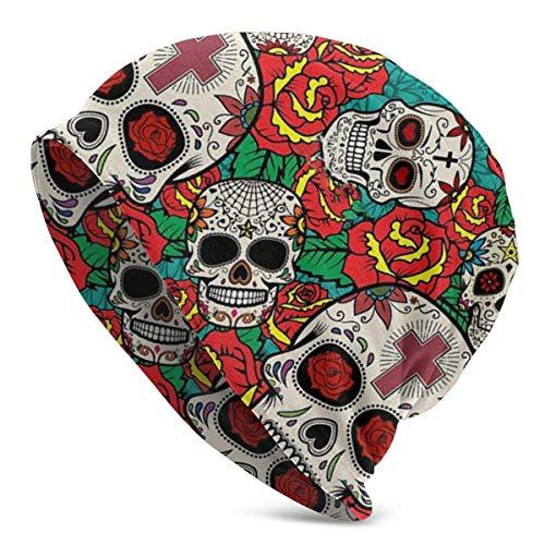 Viplili Sugar Skull Roses Unisex Slouchy Beanie Skull Cap Stretchy Baggy Oversized Knit Hat