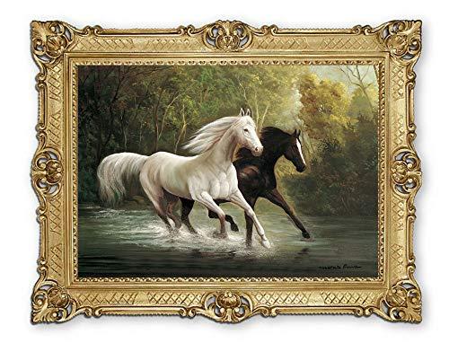 Lnxp Cuadro de 90 x 70 cm, artista; M. Ruiz '´ Galoppierende caballos en un estanque, imagen barroca, marco antiguo renacentista, reproducción artística de alta calidad